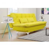 Sofá-Cama e Chaise Casal Versátil Veludo Liso Amarelo - Império estofados