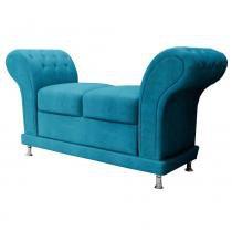 Sofa Recamier JS Moveis Athenas Capitone Azul - JS Móveis