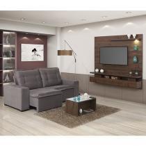 Sofá Retrátil e Reclinável 3 Lugares Ariel - Móveis Estrela + Painel + Tapete + Mesa de Centro