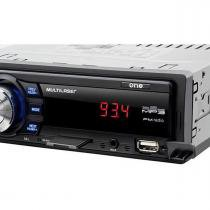 Som automotivo multilaser one p3213 preto, mp3 player, rádio fm, entradas usb, cartão sd e auxiliar, -
