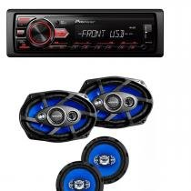 Som Automotivo Pioneer Mvh-98ub Usb Frontal Mp3 e Kit Tsr Orion Alto Falantes 6 E 6x9 Pol 220w Rms - Pioneer / orion