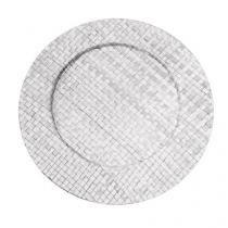Sousplat branco em rattan 33 cm linha pandanus - Dynasty