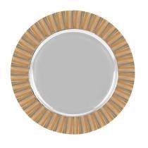Sousplat de aço inox com borda revestida em bambu 35 cm - lhermitage -
