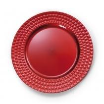Sousplat Mesa De Natal Bora Quadriculada 33Cm Vermelho - Cromus