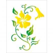 Stencil de acetato para pintura opa 32 x 42 cm - 1269 flores hibiscos -