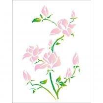 Stencil de acetato para pintura opa 32 x 42 cm - 1270 flores magnólias -
