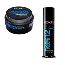 Styling Water Wax 3 50ml e Styling Rough Paste 12 75ml Redken Finalizadores Modelador Fixação -