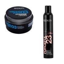 Styling Water Wax 3 e Styling Forceful 23 Redken Kit Modelador Finalizador -
