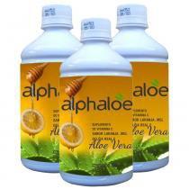 Suco de Aloe Vera Babosa com Laranja Mel e Geleia Real 500ml Kit com 3 Frascos - Alphaloe