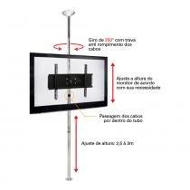 Suporte com Inclinação Teto e Chão - TV Sky-Full Multivisão - Preto - 1 metro - MULTIVISÃO