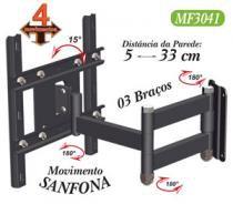 Suporte para tv 10 a 56 articulado 4 movimentos oled/4k/3d/led/lcd ou plasma preto mf3041 - Multiforma