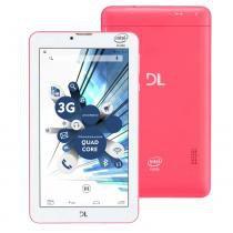 Tablet DL TabPhone 710 com Função Celular (Faz e Recebe Ligação),Tela 7, 3G, Dual Chip, WiFi, Câmera, Android 5.0 e Processador Intel QuadCore - Rosa - DL