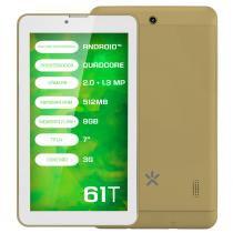 "Tablet Mirage 61t 3G Quadcore Tela 7"" Dual Câmera 2mp + 1.3mp Android 4.4 Dourado -"
