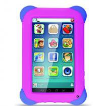 Tablet Multilaser Kid Pad NB195 7, Wi-Fi, 8 GB, Android 4.4, Câmera 2 MP, Preto com Capa Rosa -