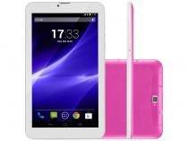 "Tablet Multilaser M7S 7"" Android 4.4 Kit Kat 8GB Wi-Fi 3G Rosa Quad Core -"