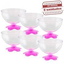 Taça de Sobremesa Acrílica Rosa Neon 400ml 6 unidades Bezavel - Festabox