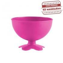 Taça de Sobremesa Acrílica Rosa Neon Leitoso 400ml 42 unidades Bezavel - Festabox