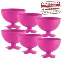 Taça de Sobremesa Acrílica Rosa Neon Leitoso 400ml 6 unidades Bezavel - Festabox