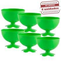 Taça de Sobremesa Acrílica Verde Neon Leitoso 400ml 6 unidades Bezavel - Festabox