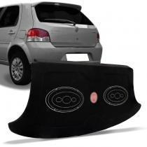 Tampão Porta Malas Fiat Palio G4 2008 a 2014 4 Portas Carpete Preto + Furos 6x9 MDF 12mm Bagagito - R-acoustic