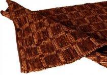 Tapete decorativo check chocolate médio com tiras de couro - Maria pia casa