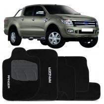 Tapete Ford Ranger 2013 e 2014 Cabine Dupla Carpete Preto 5 Peças - Tevic