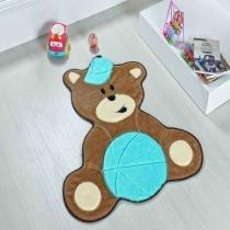 Tapete formato urso baby azul turqueza - Dourados enxovais