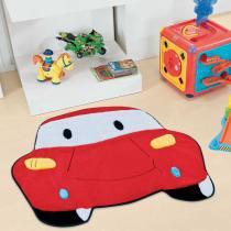 Tapete Infantil Formato Carro Vermelho 60x78cm - Guga Tapetes - Vermelho - Guga Tapetes