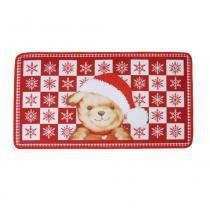 Tapete Urso Musical C/ Led Decoração Natal 40x69cm Vermelho - Cromus