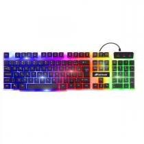 Teclado Gamer Multimídia CHROMATIC GK-710 Preto com LED Colorido FORTREK -