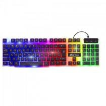 Teclado gamer multimidia chromatic gk-710 preto com led colorido fortrek -