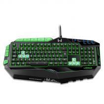 Teclado Multilaser Gamer Warrior Profissional Preto e Verde Com LED USB - TC199 -