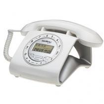 Telefone com Fio Intelbras Retrô Branco com Identificador de Chamadas - TC8312 - Intelbras