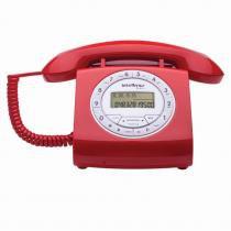 Telefone com Fio Intelbras Retrô TC8312 com Viva voz e Identificação de Chamadas - Vermelho - INTELBRAS