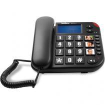 Telefone com Fio Tok Facil Fácil ID com bina Identificador de Chamadas Teclas Grandes Preto Intelbras -