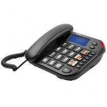 Telefone Intelbras com identificador de chamadas, teclas grandes - Tok Fácil ID Preto - Intelbras