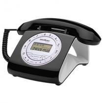 Telefone intelbras retrô, com viva-voz, preto - tc8312 -