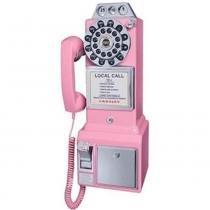 Telefone Pay Phone Retrô Classic Watson Rosa 50s - Versare Anos Dourados