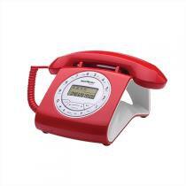 Telefone Retrô Com Fio Viva-Voz Vermelho Tc8312 Intelbras -