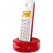 Telefone Sem Fio D130 Branco Vermelho Philips D1301WR BR - Philips
