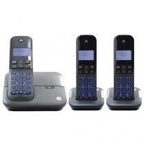 Telefone Sem Fio Motorola GATE4000MRD3 2 Ramais - com Identificador de Chamadas com Viva Voz Preto