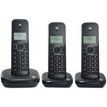 Telefone sem Fio Motorola MOTO500ID-3 + 2 Ramais - Identificador de Chamada Preto