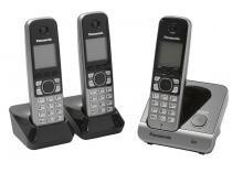 Telefone Sem Fio Panasonic KX-TG6713LBB + 2 Ramais Identificador de Chamada Viva Voz Preto
