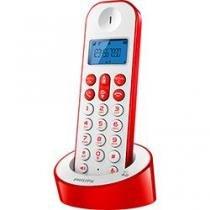 Telefone Sem Fio Philips Branco Vermelho D1211WR-BR - Philips