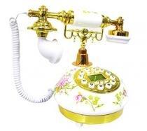 Telefone Vintage Retro Antigo Floral Dourado Para Decoraçao (888033) - Yan21