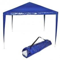Tenda Gazebo Desmontável 3x3 m Barraca Praia Camping Azul com Bolsa Importway IWGZM-3AZ -