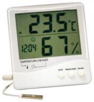 Termo higrometro digital temperatura e umidade externa e interna com sensor e relogio incoterm - Incoterm