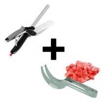 Tesoura de Legumes e Verduras Clever Cutter + Cortador e Pegador de Frutas INOX - Importado