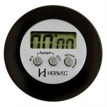 Timer cronômetro digital alarme sonoro imã de fixação e adaptador para ficar sobre mesa herweg preto -