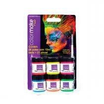 Tinta Líquida Fluorescente 6 Cores Cítricas - Neon Facial - Color make
